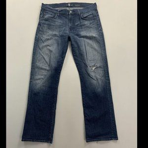 7 For All Mankind Men's Blue Bootcut Jeans Size 36